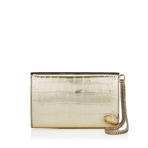 Light Gold Embossed Mirror Leather Clutch Bag - Jimmy Choo